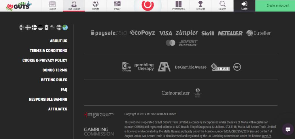guts casino payment