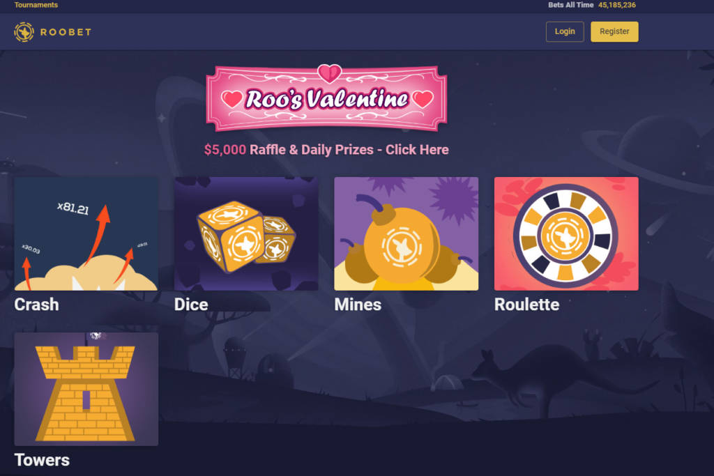 Roobet.com - $5000 Daily Prizes - gambling site | Real Money Bonus Code | Top100-list.com
